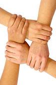 Trabajo en equipo y la amistad — Foto de Stock