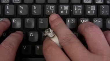 Smoking While Typing — Stock Video