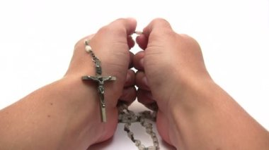 Praying the Rosary — Stock Video