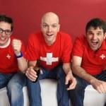 fandění pro švýcarský tým — Stock fotografie