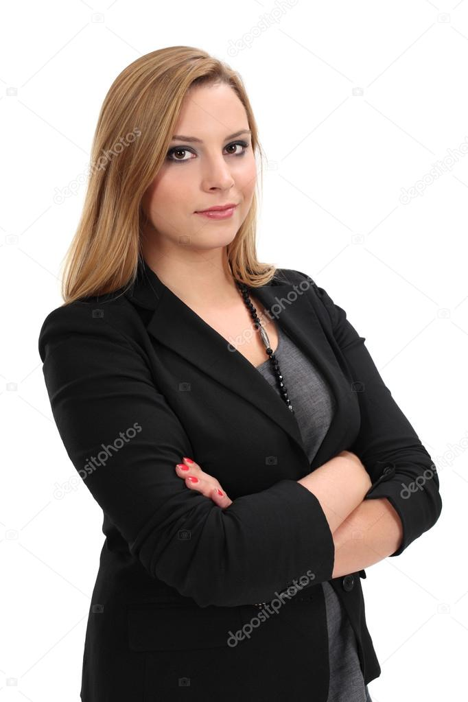 Photo of a young blond business woman standing with her arms crossed. — Stock Photo #12017225