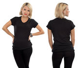 Blond woman with blank black shirt — Stock Photo