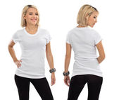 Mulher loira com camisa branca em branco — Foto Stock