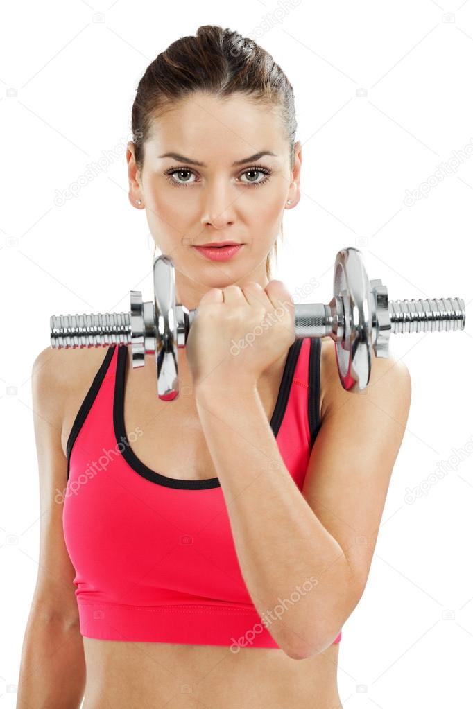 Photo of an attractive female doing dumbbell curls over white background. — Stock Photo #12253761