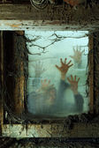 Zombies outside a window — Foto de Stock