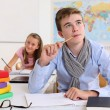 Student thinking in classroom — Stock Photo