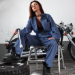 Sexy motorcycle mechanic — Stock fotografie