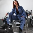 Sexy motorcycle mechanic — Stock Photo