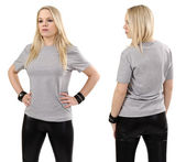 Blond woman posing with blank gray shirt — Stock Photo