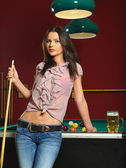 Sexy woman playing pool — Stock Photo
