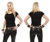 Blond woman posing with blank black shirt — Stock Photo