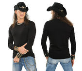 Male with blank black long sleeve shirt — Stock Photo