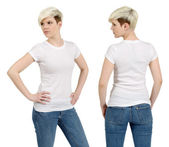 Cute female with blank white shirt — Stock Photo