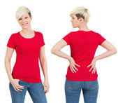 Cute female with blank red shirt — Stock Photo