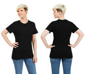 Cute female with blank black shirt — Stock Photo