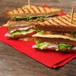 Club sandwich on napkin — Stock Photo #21378787