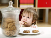 Little boy eating cookies — Stock Photo