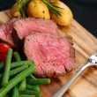 Sliced sirlion steak dinner — Stock Photo #23148096