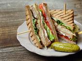 Club sandwich on a plate — Stock Photo