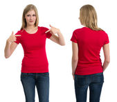 Female with blank red shirt and long hair — Stock Photo
