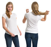 Female with blank white shirt and long hair — Stock Photo