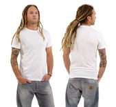 Male with blank white shirt and dreadlocks — Stock Photo
