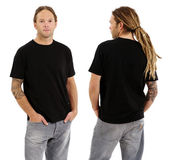 Male with blank black shirt and dreadlocks — Stock Photo
