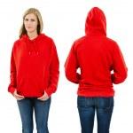 Female wearing blank red hoodie — Stock Photo
