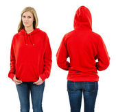 Female wearing blank red hoodie — Stock Photo