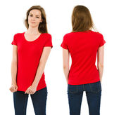 Young brunette woman with blank red shirt — Stok fotoğraf