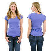 Blond woman with blank purple shirt — Stock Photo
