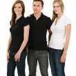 Three young people wearing blank polo shirts — Stock Photo