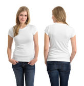 Blond female with blank white shirt — Stock Photo