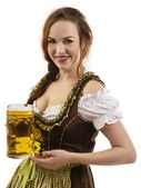 Oktoberfest server holding beer — Stock Photo