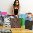 Shopaholic with all her shopping bags — Foto de Stock