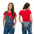 Beautiful model posing with blank red shirt — Stock Photo #36979287