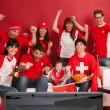 Happy Swiss sports fans — Stock Photo
