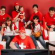Swiss sports fans excited about the game — Foto de Stock