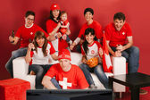 Swiss sports fans excited about the game — Stock Photo