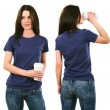 Brunette with blank purple shirt and drinking — Stok fotoğraf