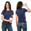 Brunette with blank purple shirt and drinking — Stock Photo