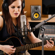 Woman in a recording studio — Foto de Stock