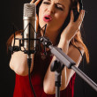 Recording vocals in studio — Stock Photo #41498005