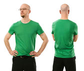 Man wearing blank green shirt — Stock Photo