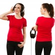 Woman wearing blank red shirt and headphones — Stock Photo #41997125