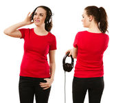Woman wearing blank red shirt and headphones — Stock Photo