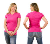 Woman in her forties wearing blank pink shirt — Stock Photo