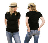 Woman in her forties wearing blank black shirt — Stock Photo