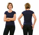 Woman in her forties wearing blank purple shirt — Stock Photo