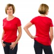 Woman in her forties wearing blank red shirt — Stock Photo #44626273